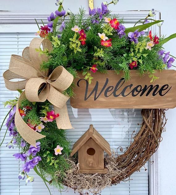 Photo of Spring Grapevine Wreath, Birdhouse Grapevine Wreath, Grapevine Wreath for spring, Spring Wreath for front door, Summer wreath for front door