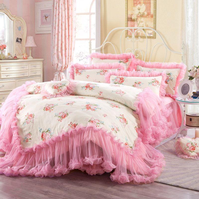 Pink Princess Lace Luxury Wedding Bedding Sets 100% Cotton 4pcs Full ...
