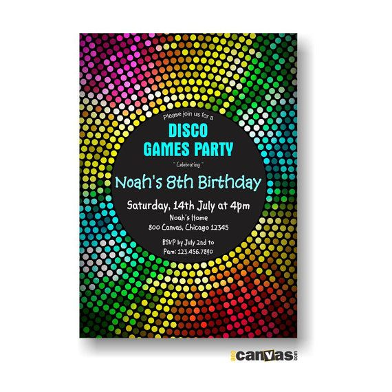 Printable Birthday Party Invitation DISCO DANCE PARTY love the