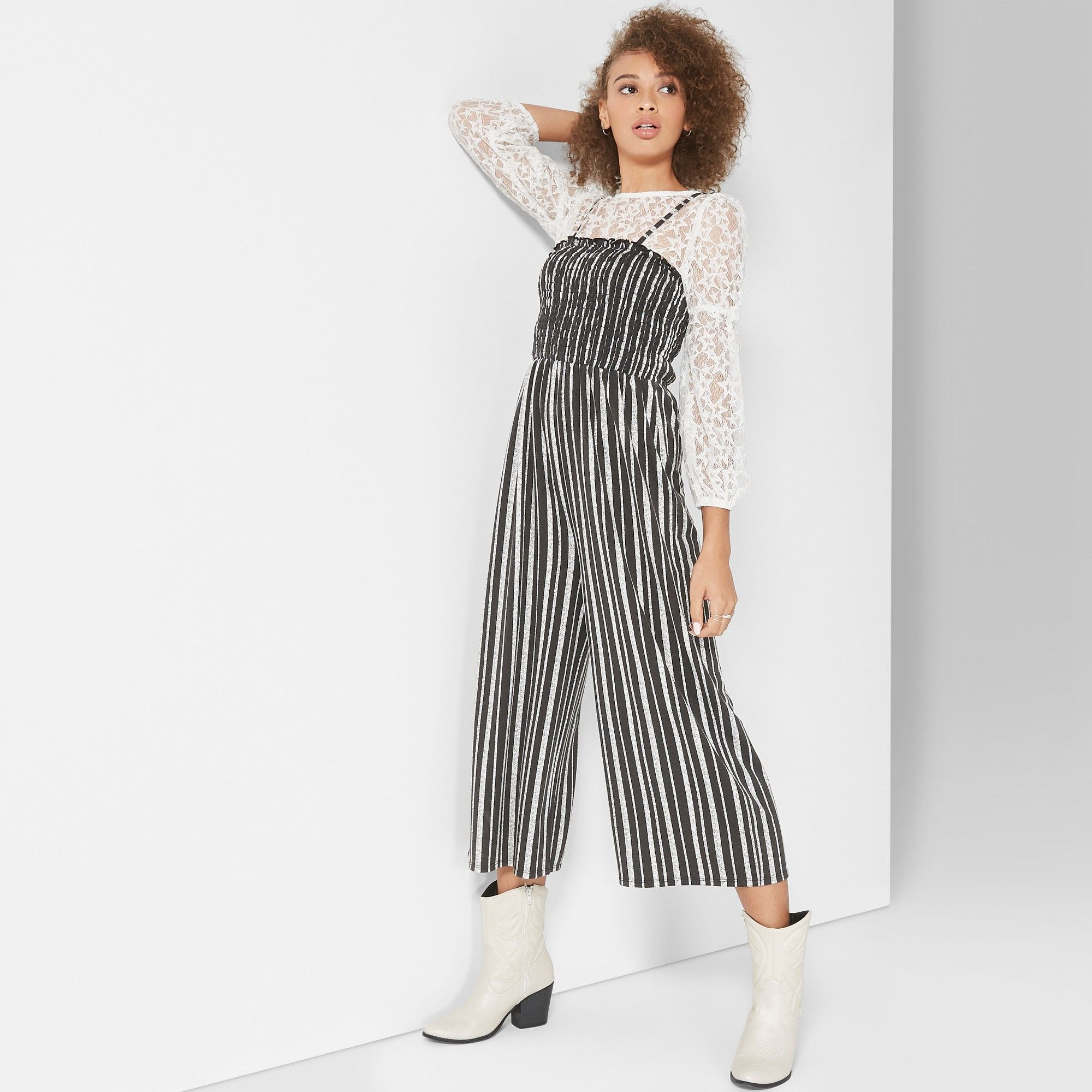 7ac8f676345 Women s Striped Strappy Knit Smocked Top Jumpsuit - Wild Fable Black White  Xxl