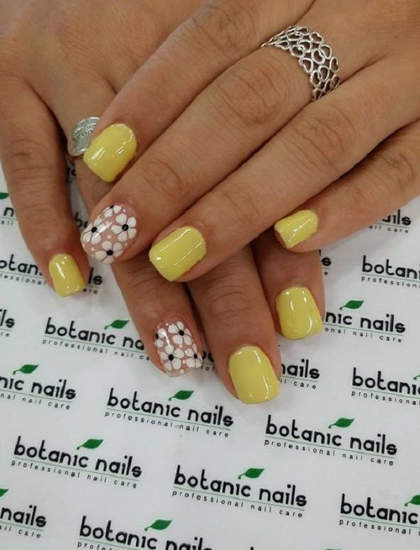 40 Yellow Nail Art Ideas Nenuno Creative Flower Nails Nail Designs Botanic Nails