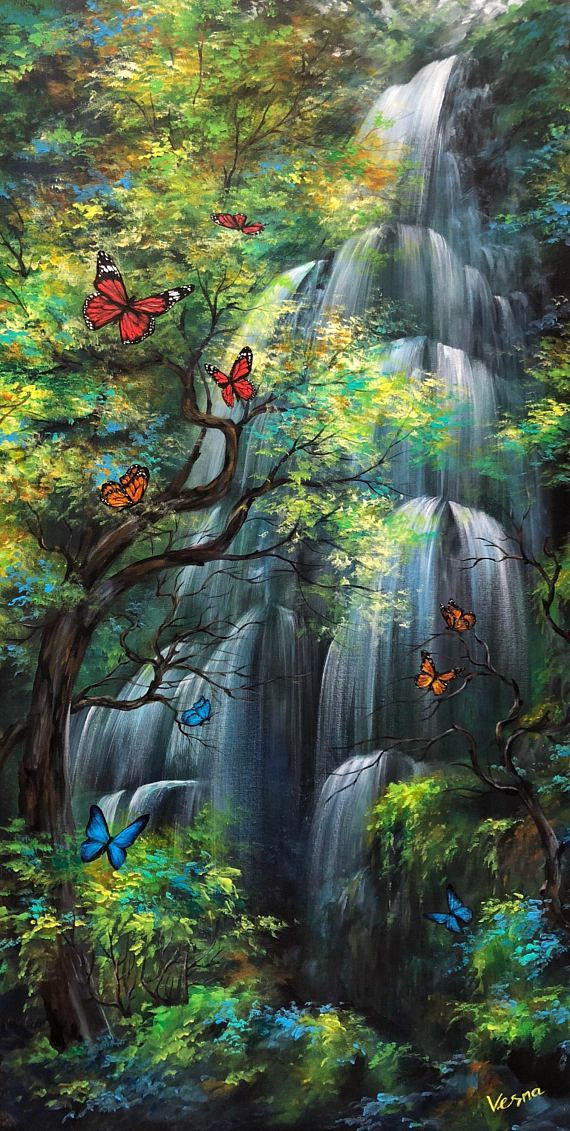 aa166ff48 Two Small Waterfalls in Golden Autumn Oil Painting 20 x 24 Inches - Google  搜索   Scenes & Scenery   Waterfall, Small waterfall, Painting