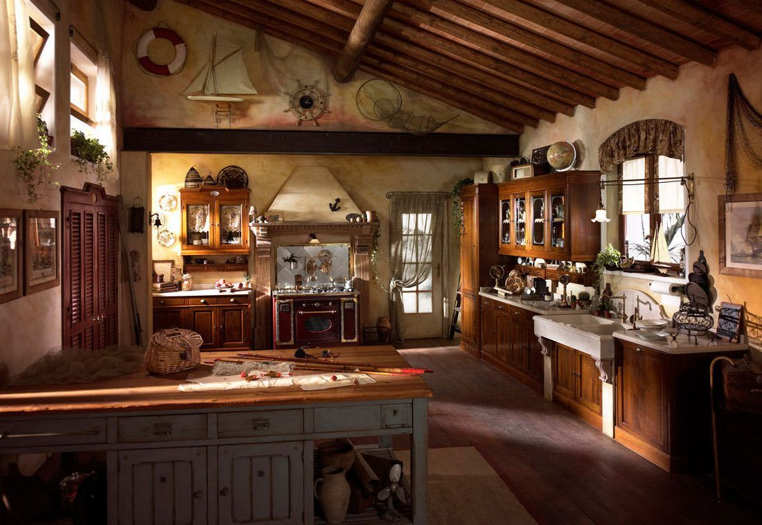Kitchen extraordinary rustic italian kitchens in small for Italian decorations for home