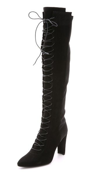 Stuart Weitzman Leather Lace-up Booties