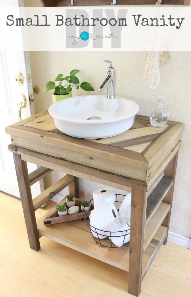 How To Build Your Own Small Bathroom Vanity Free Plans And Picture Tutorial  At MyLove2Create