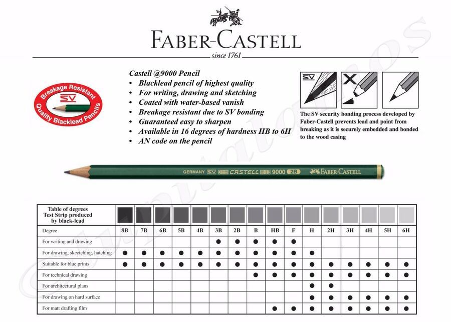 Faber Castell 9000 Graphite Pencil For Writing Drawing Sketching