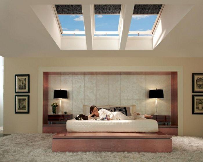 Schlafzimmer Wohnideen ~ Wunderschöne moderne jalousien für dachfenster im schlafzimmer