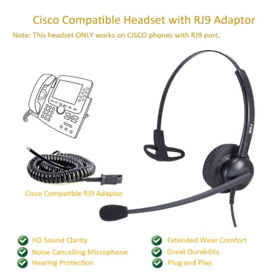 Cisco Compatible Headset Rj9 Headset Cisco Microphone