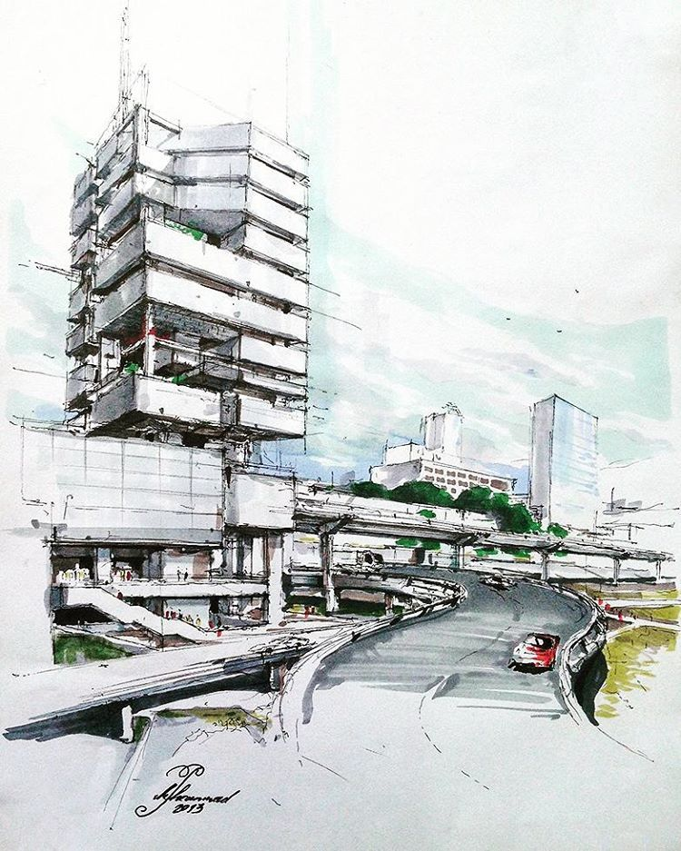 modern architectural sketches. Contemporary Architectural Good Sketch To Start Off With Pen Marker Used Really Helps Show Shadows  And Different Surfaces And Modern Architectural Sketches