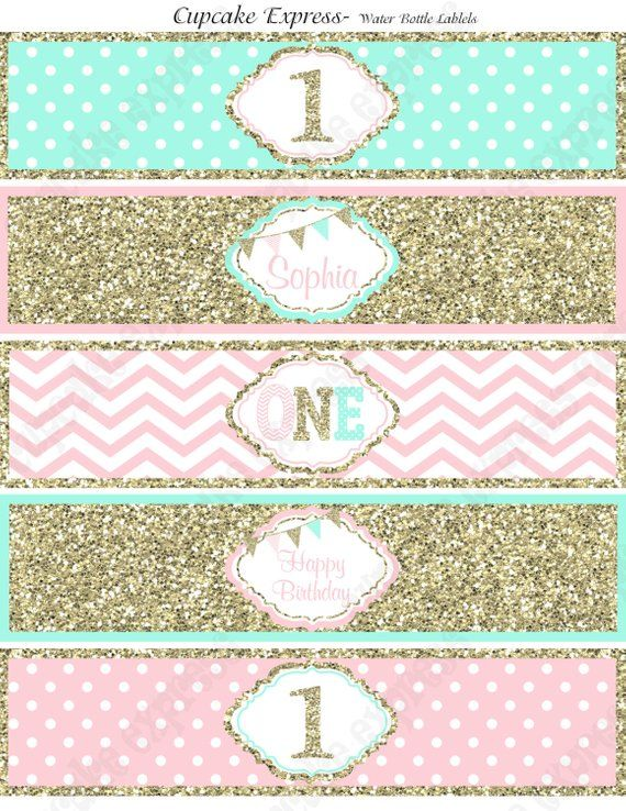 one first birthday girl pink mint gold printable water bottle labels chevron polka dot glitter 1s