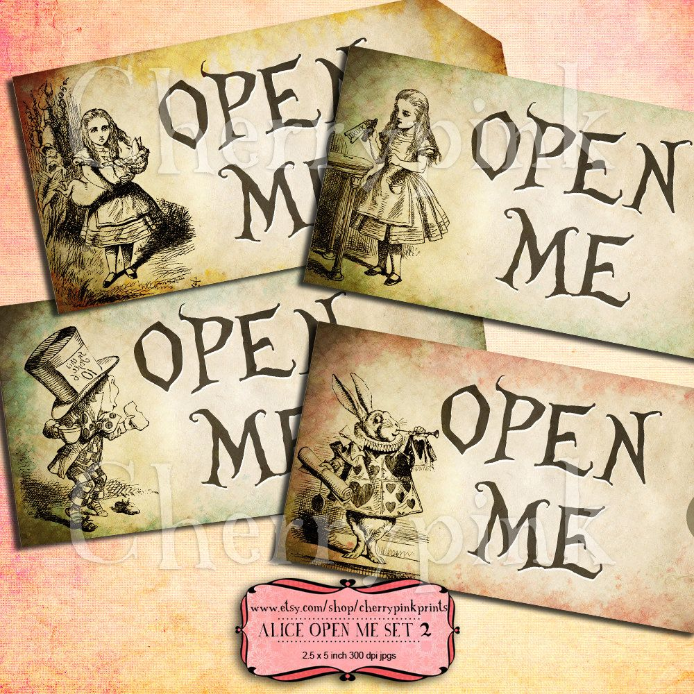 Alice Vintage Tags, OPEN ME Set 2 Alice in Wonderland Tags, labels, perfect for parties, presents and invitations.