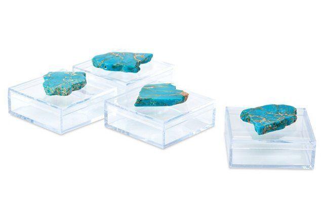 S/4 Pill Boxes w/ Turquoise Jasper