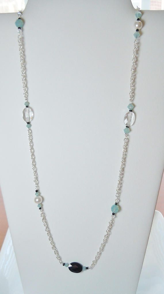 Swarovski Beaded Long Chain Necklace in Pacific by BestBuyDesigns