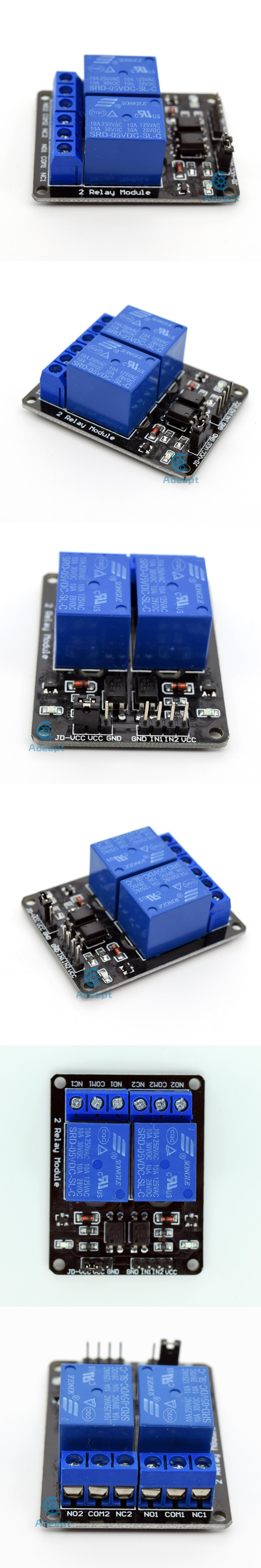 Adeept New 5v 2 Channel Relay Board Module For Arduino Raspberry Pi Arm Avr Dsp