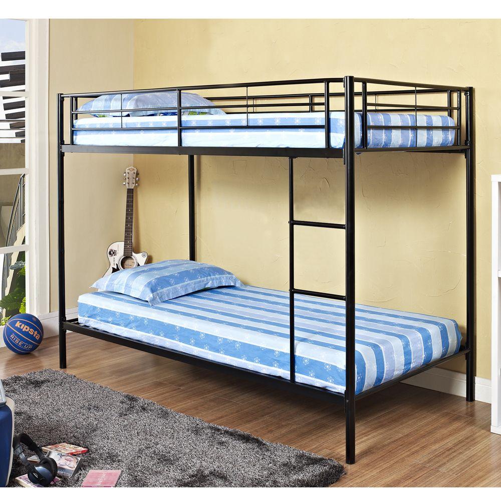 Twin/Twin Black Metal Bunk Bed   Overstock.com   Girls Bedroom ...