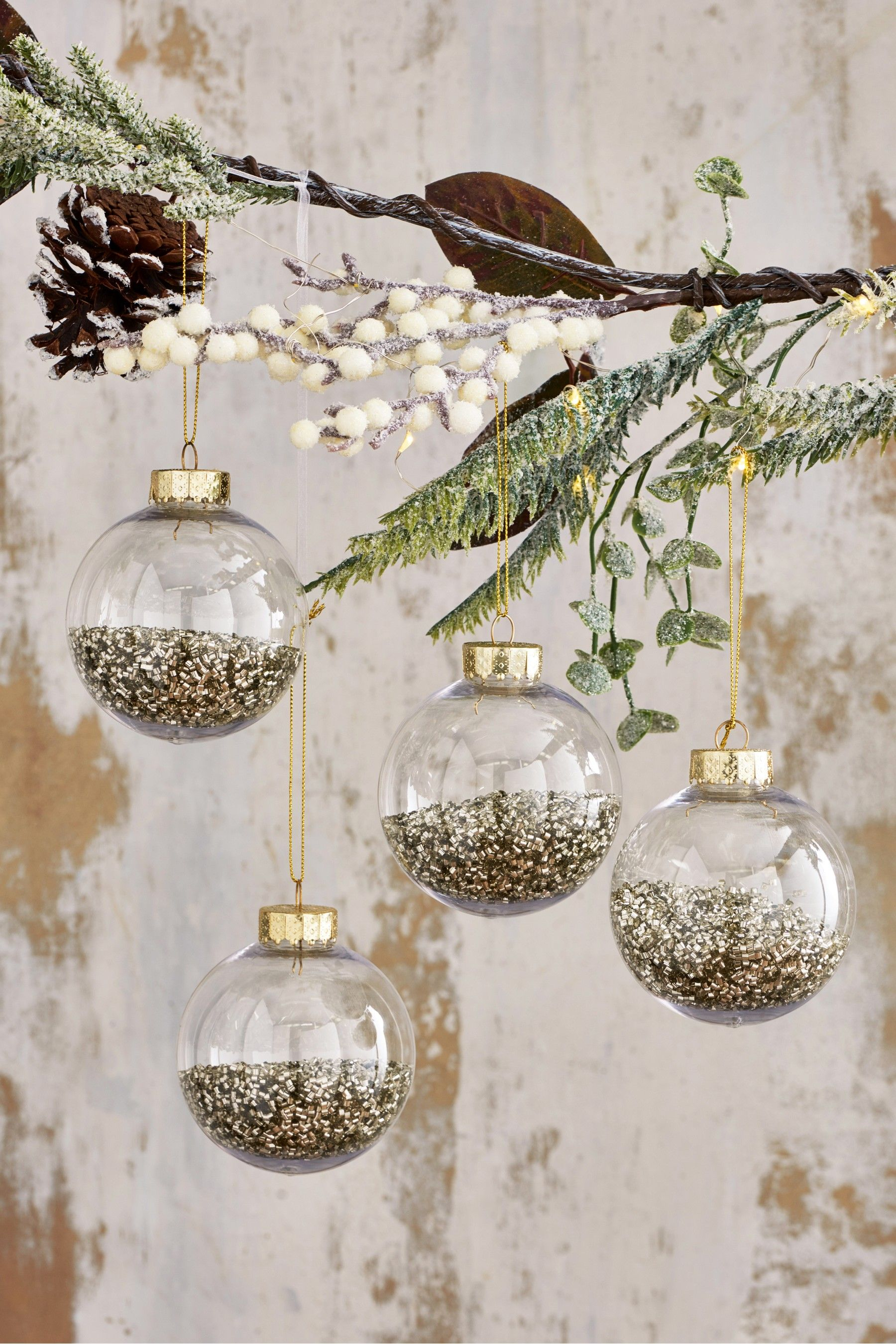 Next Set Of 4 Shaker Filled Baubles Gold Shop Decoration Christmas Bulbs White Ornaments