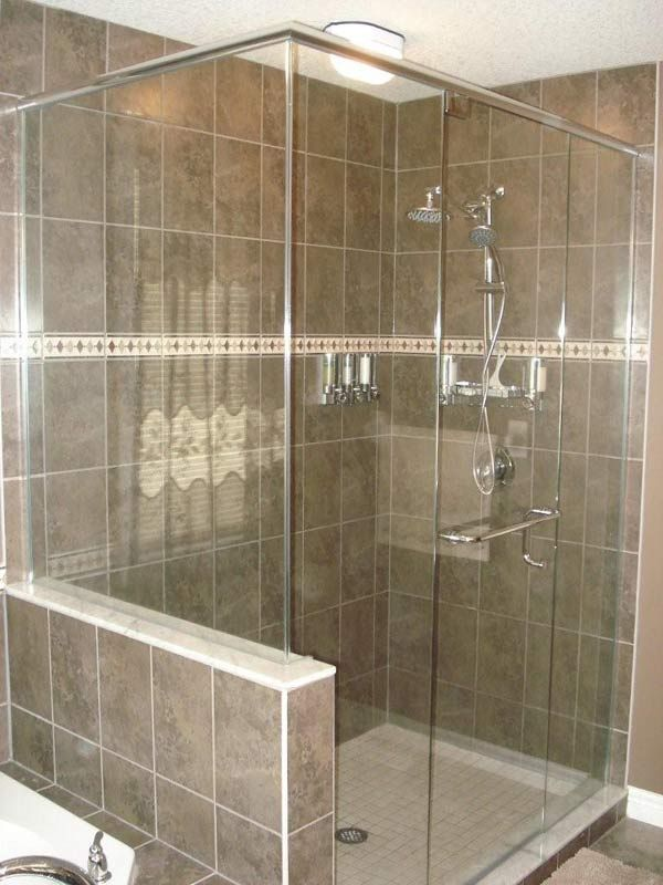Glass shower with half wall bathrooms pinterest for Half wall shower glass