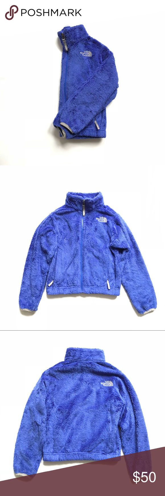 460332fd8 Girls purple fuzzy North Face coat •The North Face girls royal ...