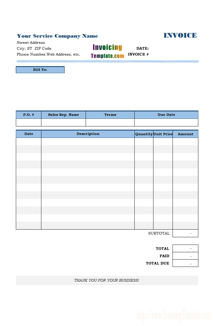 General Service Bill Invoice Template Templates Web Address