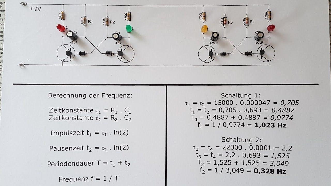 Astabiler Multivibrator Aufbau Schaltplan Schaltzeit Frequenz Youtube Schaltplan Frequenzen Schalter