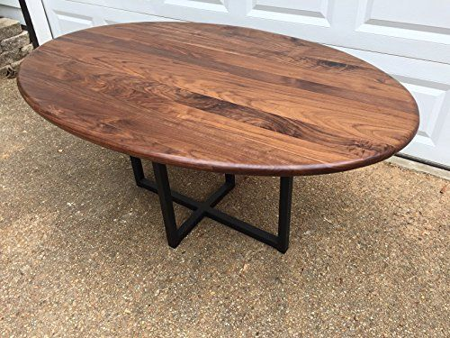 handmade furniture wooden oval dining table - walnut with metal