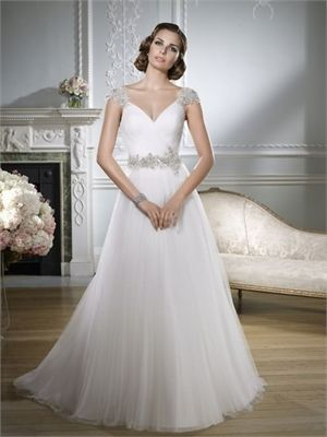 2015 Whtie A Line V-Neck Beads Sashes Zipper Tulle Wedding Dresses ...