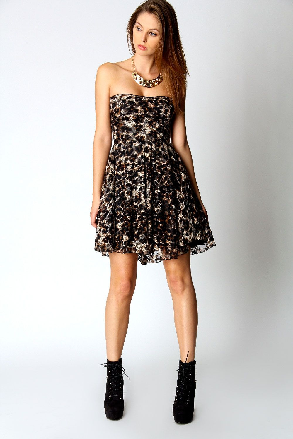 Lucie Leopard Lace Bandeau Skater Dress at boohoo.com