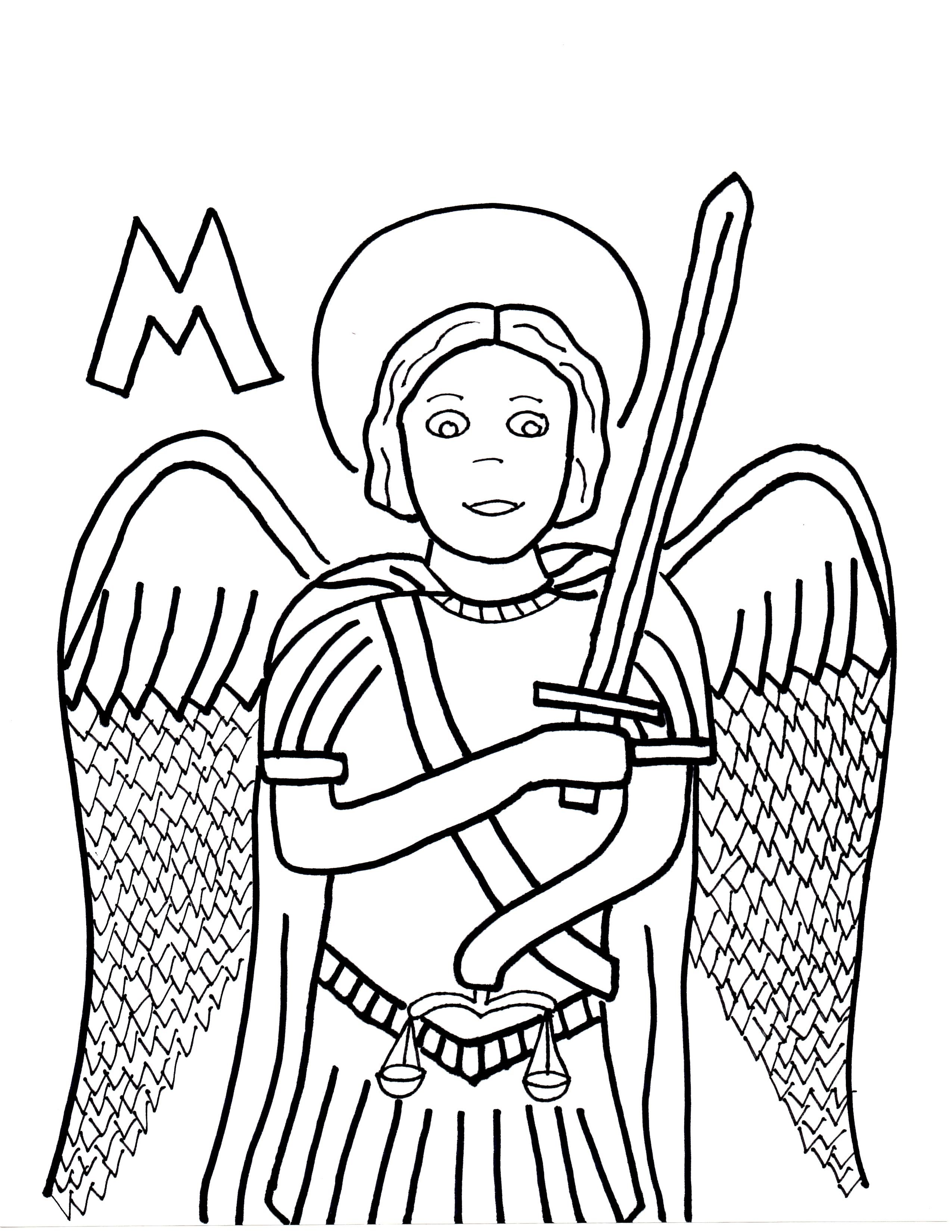 M Is For St Michael The Archangel St Michael Coloring Pages