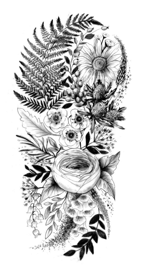 Photo of J'adore le renoncule et la feuille de fougère Une sélection de croquis de tatouage je suis n …