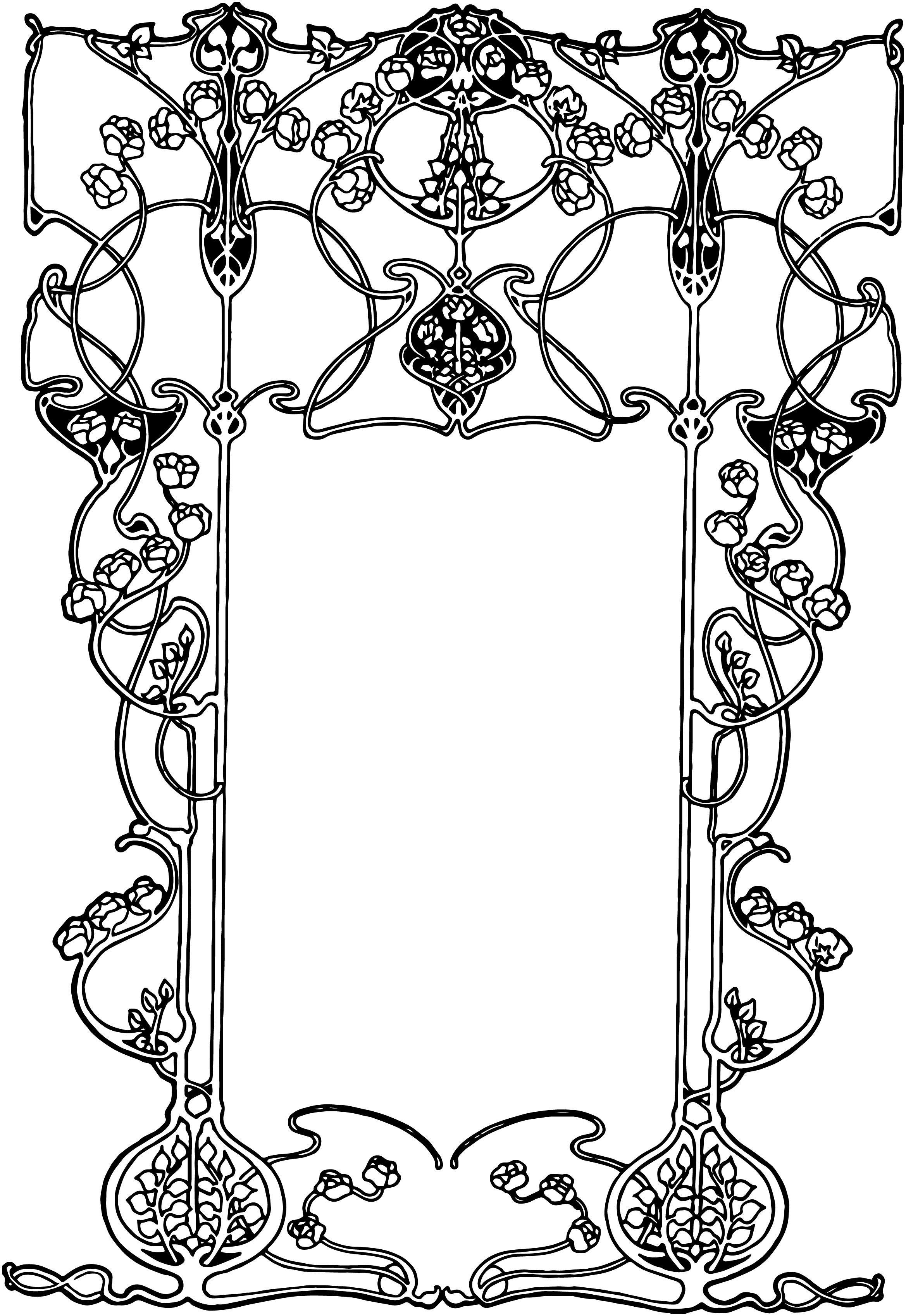 free vintage image art nouveau ornate floral border vintage rh pinterest co uk art deco vector art art deco vector