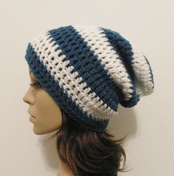LazyDay Slouch Beanie - Sapphire and White Stripes - made to order ...