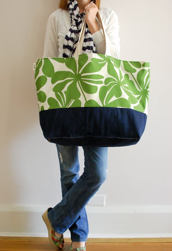 EXTRA Large Beach Bag // Tote in Green Floral by LucyJaneTotes ...