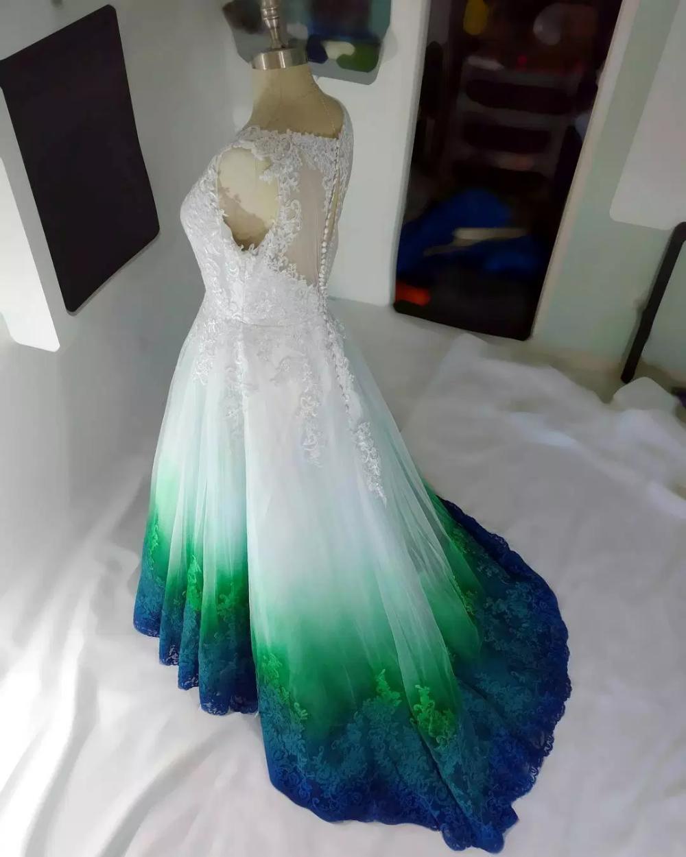 Green Teal Blue Dip Dye Wedding Dresses By Taylor Ann Linko Dip Dye Wedding Dress Blue Wedding Dresses Camo Wedding Dresses [ 1250 x 1000 Pixel ]