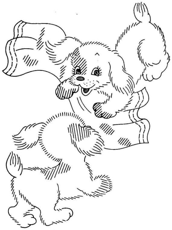 Six Puppies for Embroidered Kitchen towels Puppies with