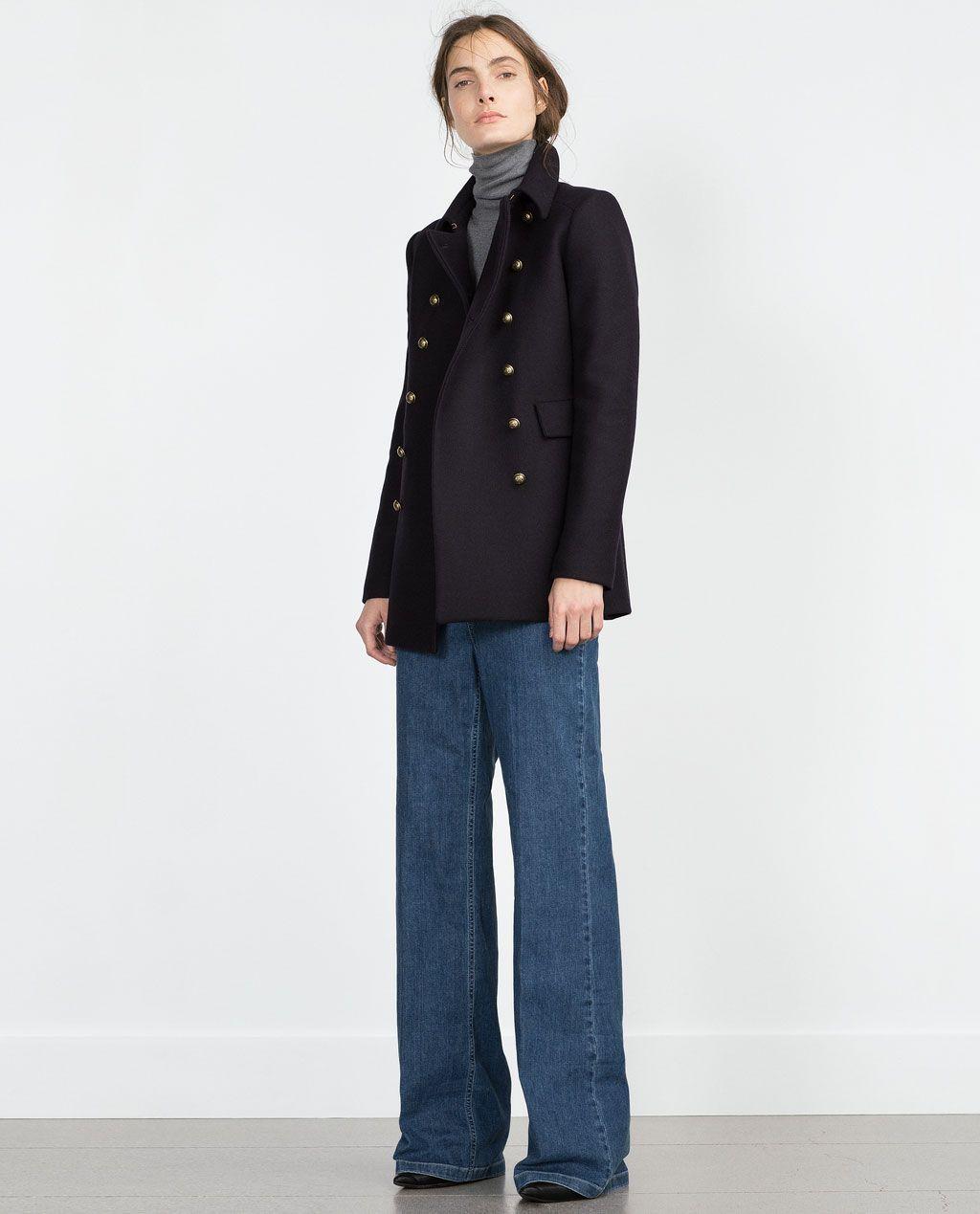 Zara abrigos mujer azul marino