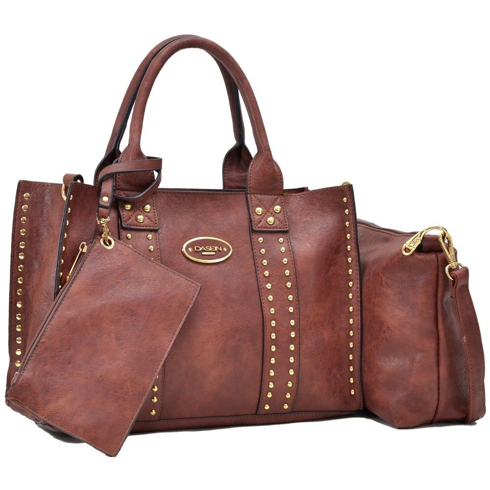 Dasein 3PCS Middle Studded Tote Handbag with Detac