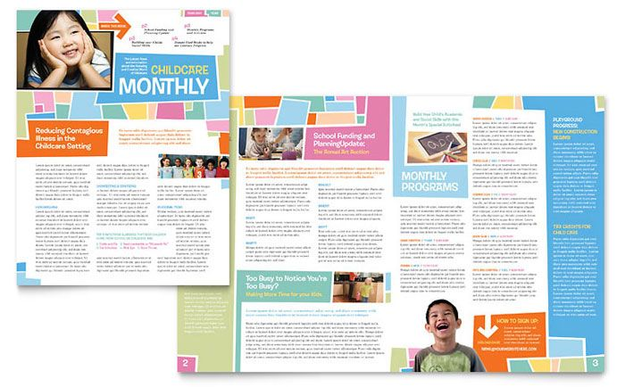 Preschool Kids And Day Care Newsletter Design Template By