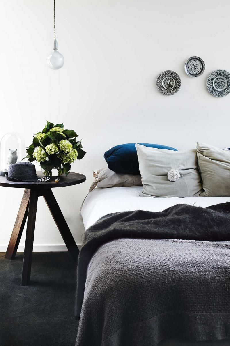 Bedroom-romantic-grey-bedside-table-flowers-Inside Out