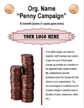 Penny Campaign Fundraising Flyer Template  Fundraising And