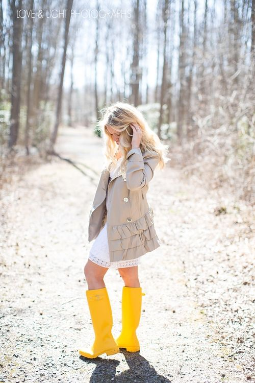 7877684af6a5 Spring inspired little white dress with trench coat and yellow hunter rain  boots