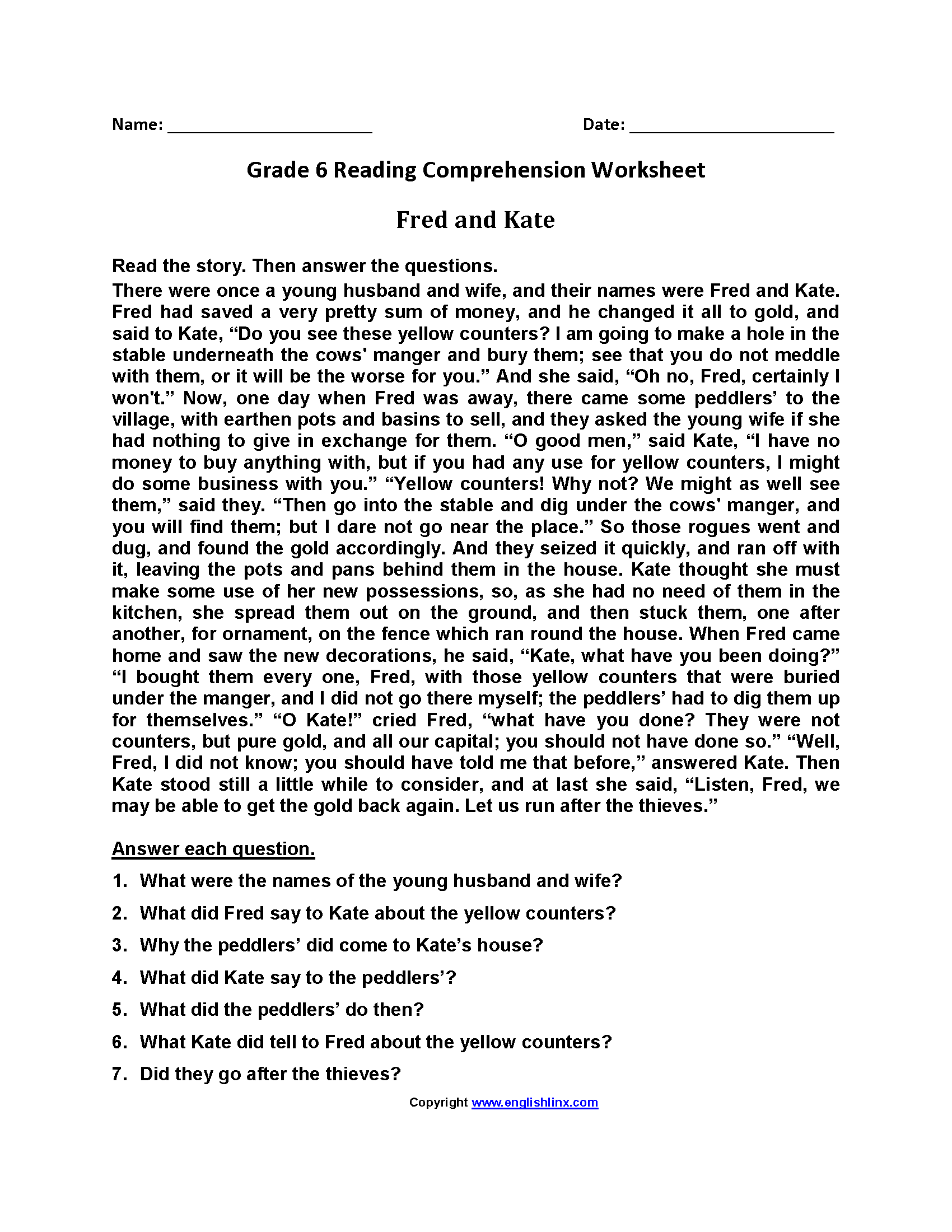 Fred And Kate Sixth Grade Reading Worksheets