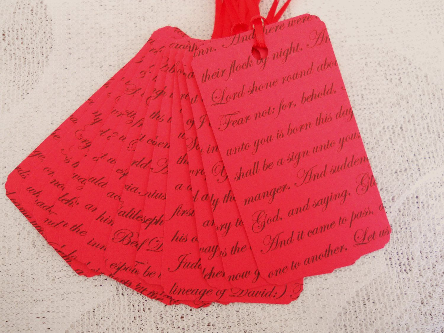 Red Christmas Gift Tag with Text Luke 2 Favor by EllieMarieDesigns, $4.50