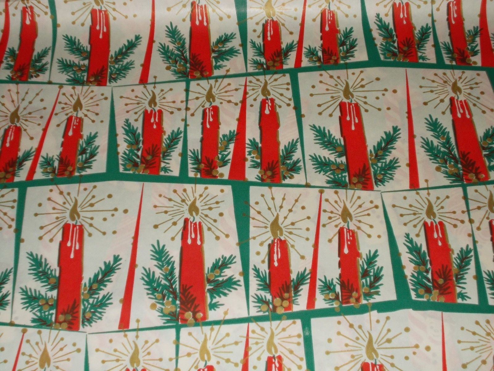 Vtg Christmas Wrapping Paper Gift Wrap 1950 Nos Red Candles Mcm Atomic Era E Vintage Christmas Wrapping Paper Christmas Wrapping Paper Vintage Wrapping Paper