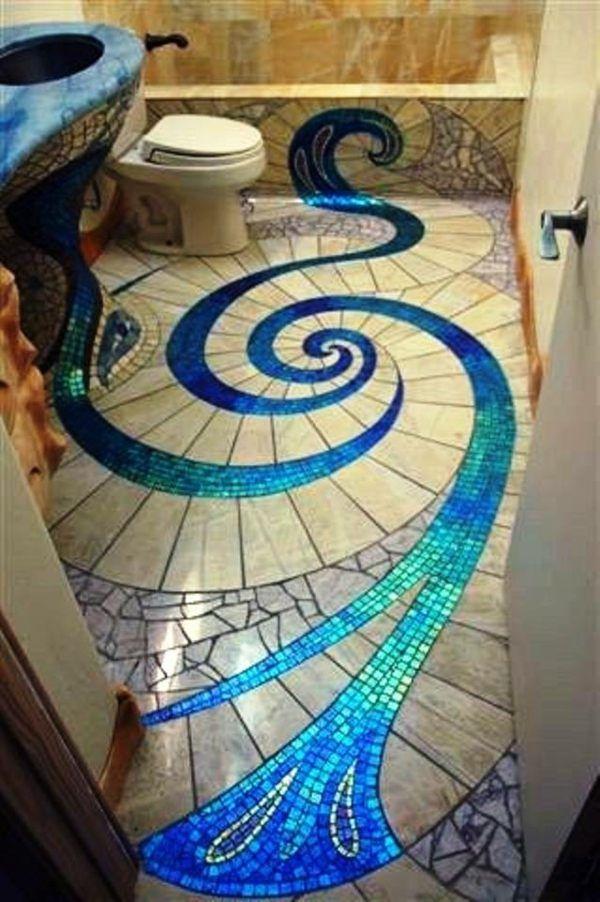 Mosaique Brillante En Bleu Et Beige Carrelage Sol Bains Sujets