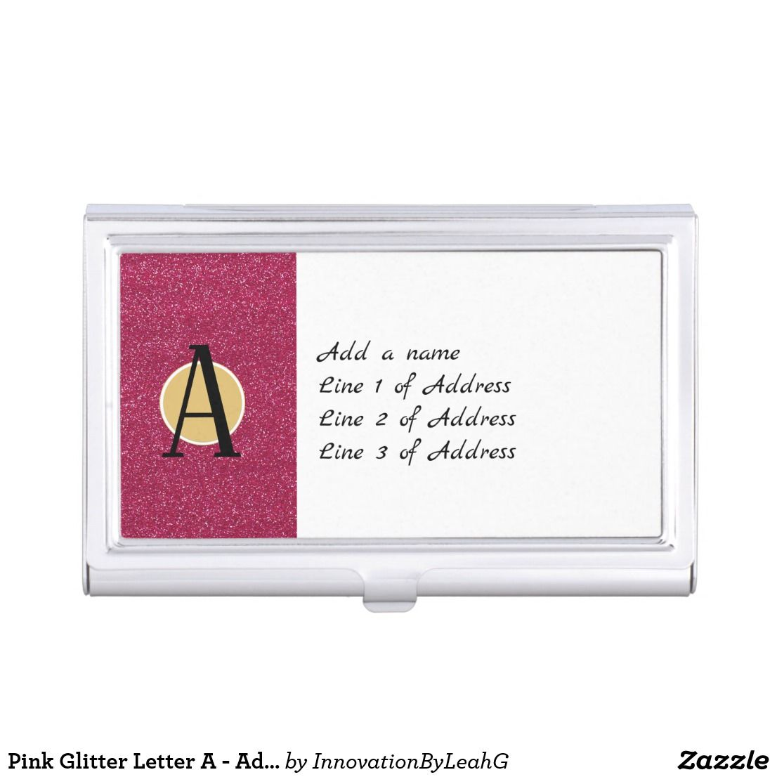 Pink glitter letter a add any initial monogram business card pink glitter letter a add any initial monogram business card case magicingreecefo Images