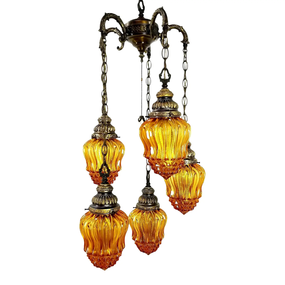 Crackle Glass Amber Pendant Light  Vintage Lighting  Amber Glass Hanging Lamp  House Decor  Old Lamp  Retro Lighting