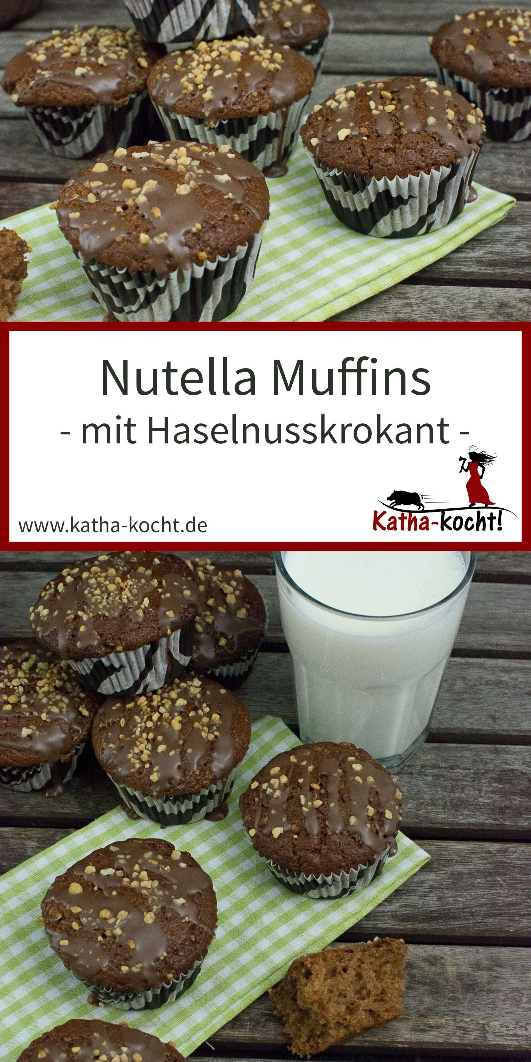 Nutella Muffins mit Haselnusskrokant #nutellakekse
