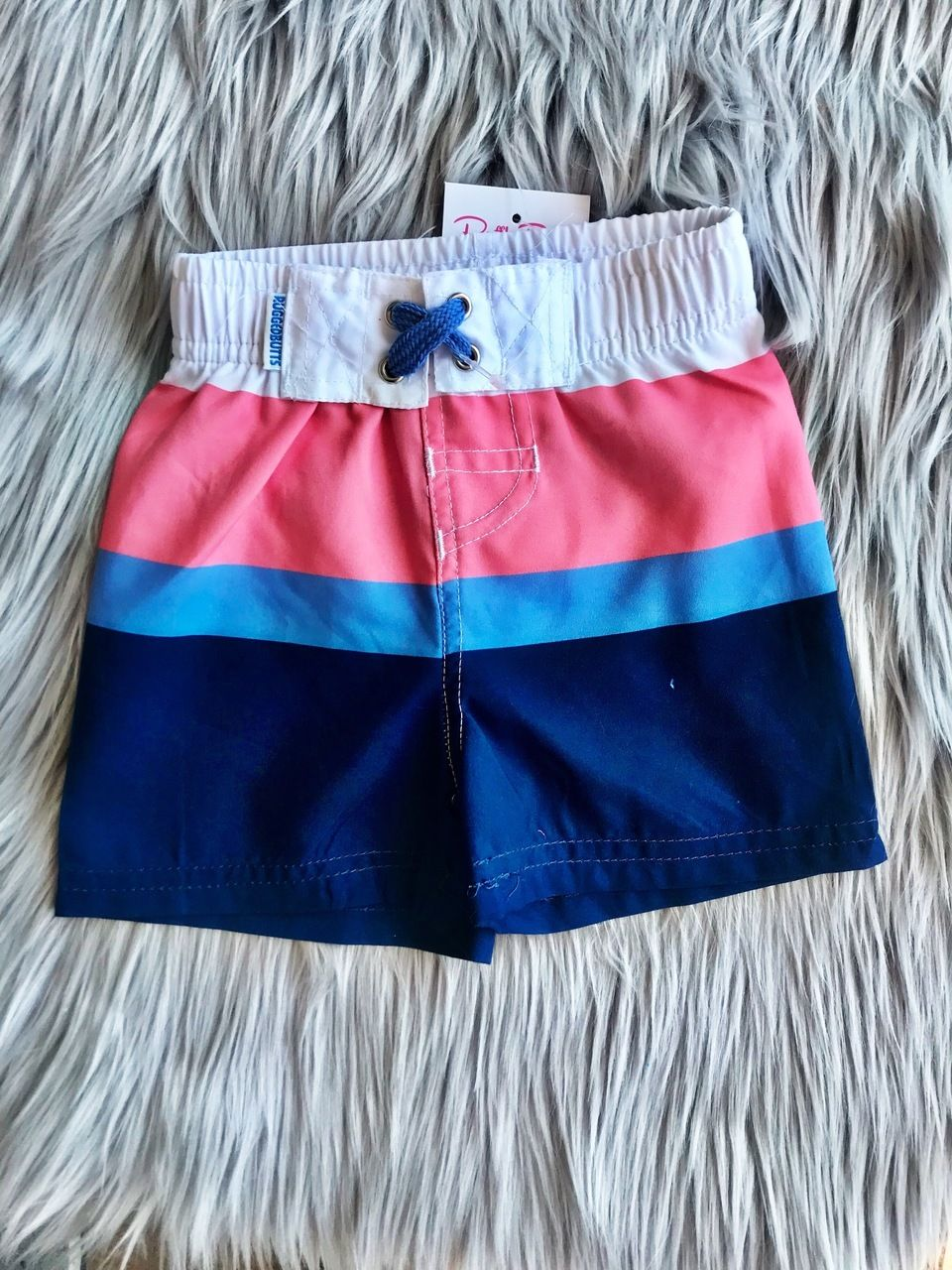 343939b2a539a RuggedButts Coral/Blue Color Block Swim Trunks | Baby Boy | Coral ...