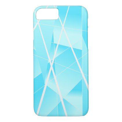 Cool Geometric Pattern in Ombre Sky Blue iPhone 7 Case - pattern sample design template diy cyo customize