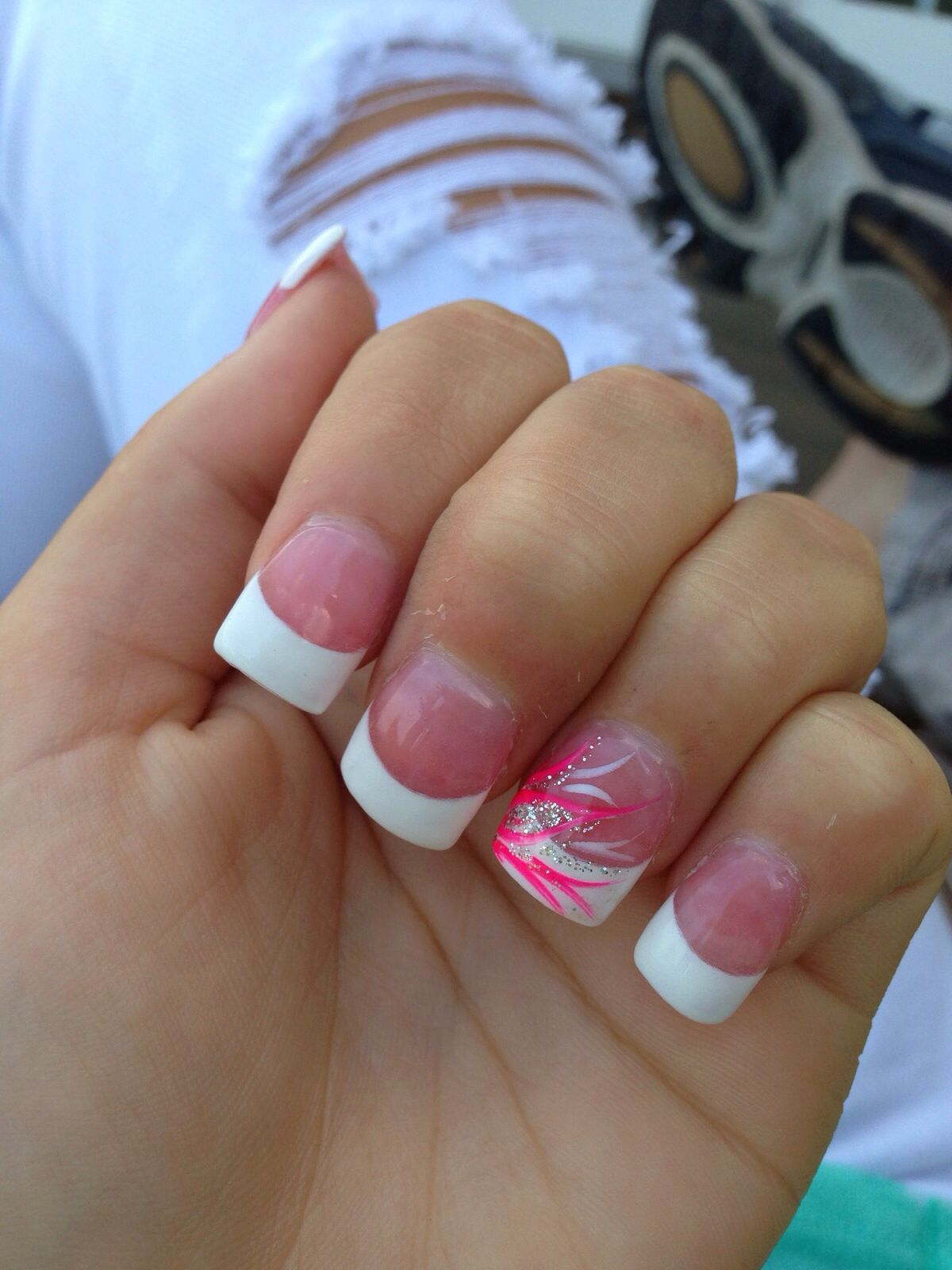 Pink And White Tips With Pink Accent Nail